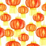 Traditional orange Chinese lanterns, seamless pattern design. Chinese lanterns sky lantern or Kongming lantern, hand drawn watercolor illustration, yellow colors Royalty Free Stock Image