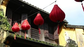 Chinese Lanterns on a street in Hoi An in the day, Vietnam stock video footage