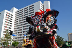 Chinese leeuw tijdens 117ste Gouden Dragon Parade Royalty-vrije Stock Foto's