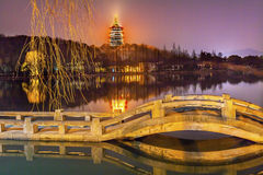 Chinese Leifeng Pagoda Bridge West Lake Hangzhou Zhejiang China. Old Chinese Leifeng Pagoda Bridge Garden West Lake Hangzhou Reflection Zhejiang China stock image