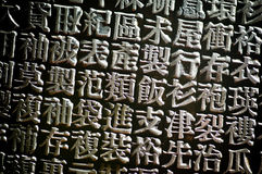 Chinese Letterpress type. An arrangement of random Chinese type and character symbols, shallow depth of field. Mixed both new and well worn characters Royalty Free Stock Images
