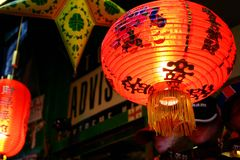 Chinese light. Orange chinese lantern and starlight in a market Stock Photos
