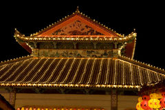 chinese lighted new temple up year Στοκ Φωτογραφίες