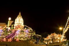 chinese lighted new temple up year Στοκ Εικόνα
