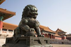 Chinese Lion. Sculpture of the angry chinese lion - guardian of the Forbidden city Royalty Free Stock Photo