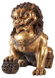 Chinese lion. Golden statue of a chinese lion Stock Photography