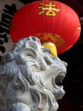 Chinese Lion. And lantern as backgrpund using for decoration, Quanzhou, China Royalty Free Stock Image