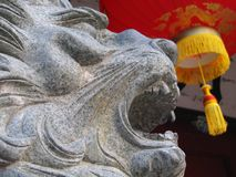 Chinese Lion. And lantern as background using for decoration, Quanzhou, China Stock Photo