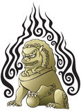 Chinese lion. Traditional Chinese lion, temple and tomb guard, vector illustration Royalty Free Stock Photos