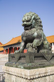 Chinese Lion. Sculpture of the angry chinese lion - guardian of the Forbidden city Royalty Free Stock Image