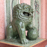 Chinese lion art statue is symbol in temple Stock Images