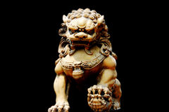 Chinese Lion. In black background Royalty Free Stock Image