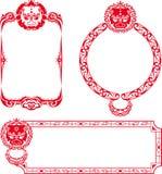Chinese Lion border illustrations Royalty Free Stock Image