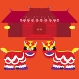 Chinese Lion And Chinese Building Style For Chinese New Year Celebration Stock Photo