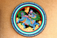Chinese Lion. Colorful of Chinese Lion on the wall Stock Photos