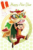 Chinese Lion dance. A vector illustration of a Chinese boy dancing a Lion dance Stock Images