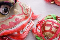 Chinese lion dance. Is the tradition culture in celebration Royalty Free Stock Images