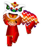 Chinese Lion Dance by Chinese Boys Illustration Royalty Free Stock Image