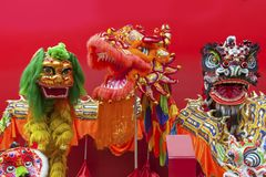 Chinese Lion Dance Costume. For new year Stock Image