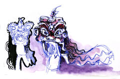 Chinese lion dance drawing Stock Photos
