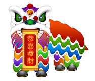 Chinese Lion Dance Full Body Illustration Stock Image