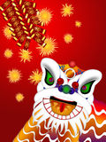 Chinese Lion Dance Head Firecrackers Illustration. Chinese Lion Dance Colorful Ornate Head and Firecrackers with Spring Text Illustration on Red Background Royalty Free Stock Image