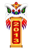 Chinese Lion Dance Head with New Year 2013 Scroll. Chinese Lion Dance Colorful Ornate Head and Scroll with New Year 2013 Numerals Illustration Isolated on White Royalty Free Stock Photography