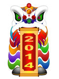 Chinese Lion Dance Head with New Year 2014 Scroll Royalty Free Stock Image