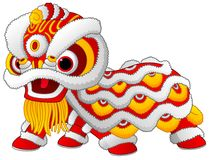 Chinese lion dance isolated on white background Royalty Free Stock Photos