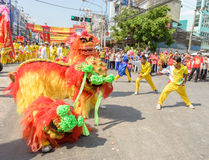 Chinese lion dance performance for Chinese New Year Celebrations Royalty Free Stock Images