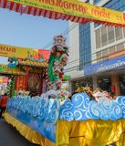 Chinese lion dance performance for Chinese New Year Celebrations. Chinese New Year parade  in Nakhonsawan, Thailand. Chinese lion dance performance for Chinese Stock Image