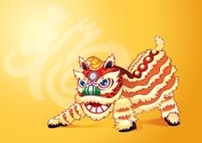 Chinese lion dance with a Chinese word `prosperity` Stock Photo