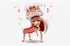Chinese Lion Dancing. An Illustration Of Chinese Lion Dancing. Useful As Icon, Illustration And Background For Chinese New Year Theme stock illustration