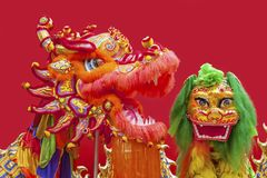 Chinese Lion and dragon Dance Costume. Chinese Lion Dance Costume for new year Stock Photos