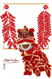 Chinese lion firecracker frame. This illustration is Chinese lion with firecracker frame template center title with Happy New Year on white color background Stock Photo