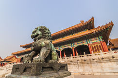 Chinese lion in the forbidden city, Beijing Royalty Free Stock Photos