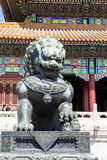 Chinese lion in front of temple architecture Stock Image