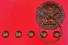 Chinese lion head door knocker Royalty Free Stock Photo
