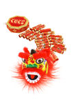 Chinese lion head and fire crackers ornaments Stock Photography
