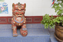 Chinese lion in joss house Royalty Free Stock Photo