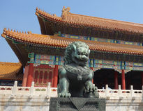 The chinese Lion. The prohibited palace. A sculture of a lion tipical of the chinese culture Stock Image