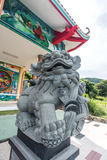 Chinese lion sculpture at Chinese temple Royalty Free Stock Images