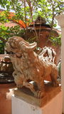 Chinese lion sculpture  guarding the temple Stock Photos