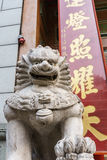 Chinese lion sculpture. Chinese lion statue sculpture before door Royalty Free Stock Image