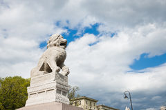 Chinese Lion Shi-tsza brought to St Petersburg Stock Photography