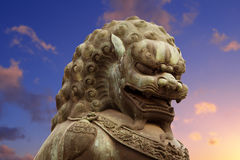 Chinese lion statue. An imperial guardian lion at the Gate of Supreme Harmony in Forbidden City. Beijing, China Stock Images