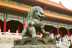 Chinese lion statue. Imperial guardian lion at the Gate of Supreme Harmony in Forbidden City. Beijing, China Royalty Free Stock Photos