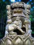 Chinese Lion Statue. A chinese lion statue usually infront of gates and enterances for good luck royalty free stock photos