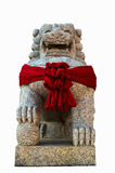 Chinese Lion Statue isolate. On white background royalty free stock photo