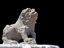A Chinese lion statue in a public temple on black backgroound, T Royalty Free Stock Photos